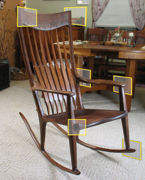 Carol's rocking chair.   Click for full size image.